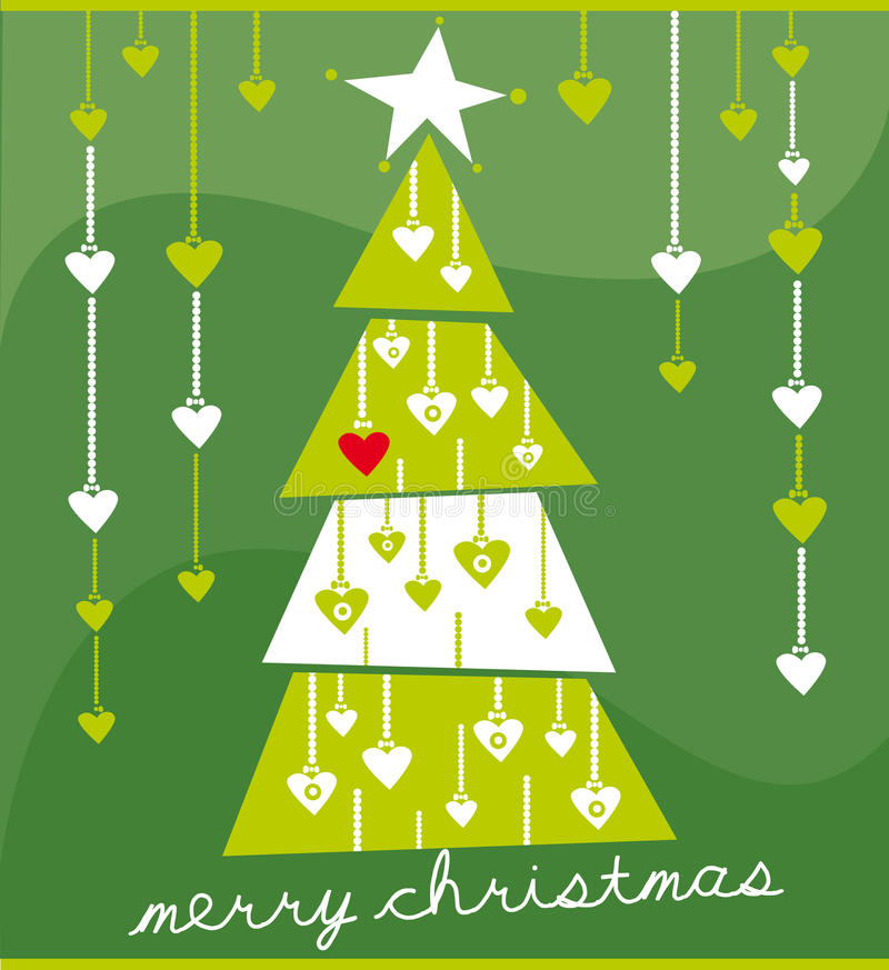 Christmas card. Illustration of christmas tree on the green background