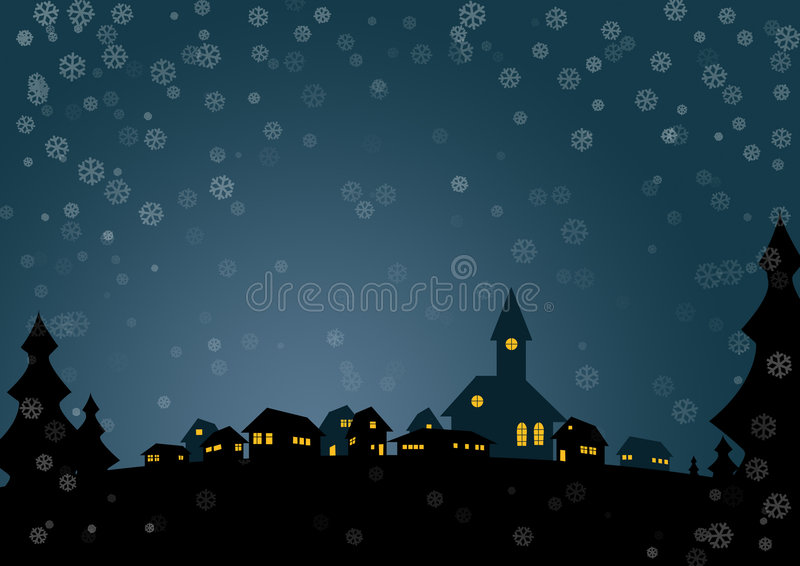 Christmas card. Nice christmas card with small village in night royalty free illustration