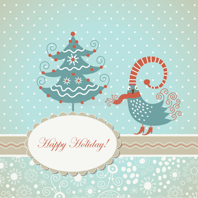 Christmas card. With cute whimsical bird stock illustration