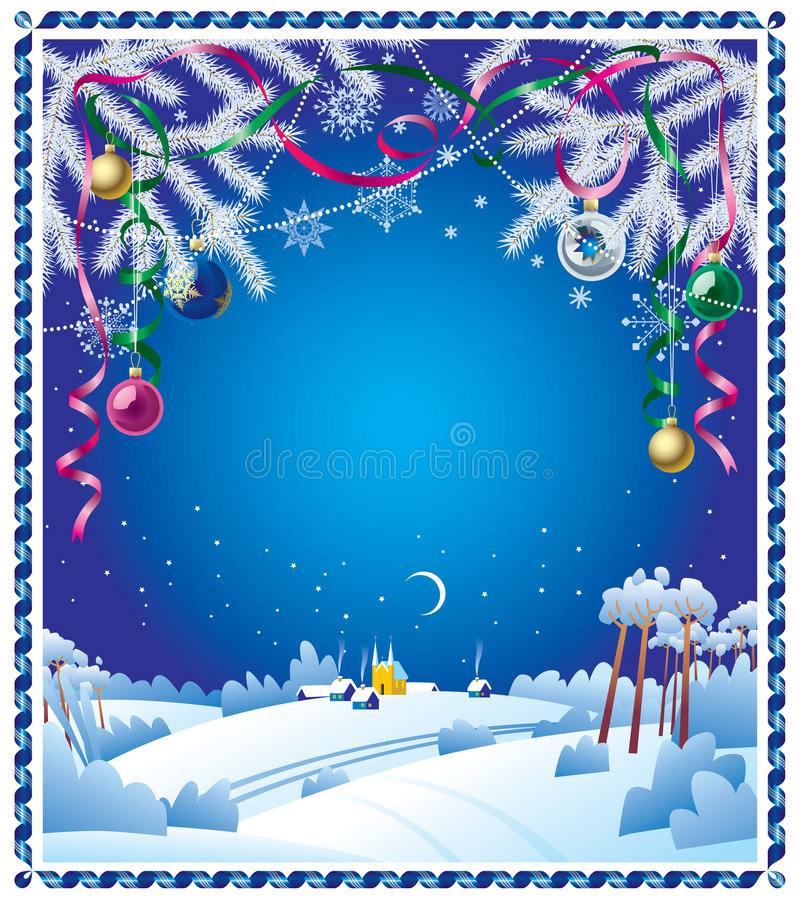 Christmas card. Raster version of vector Christmas card with a winter landscape and a ribbon border There is in addition a vector format (EPS 8