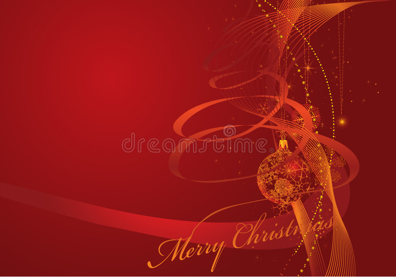 Christmas card. With waves and golden snowflakes stock illustration