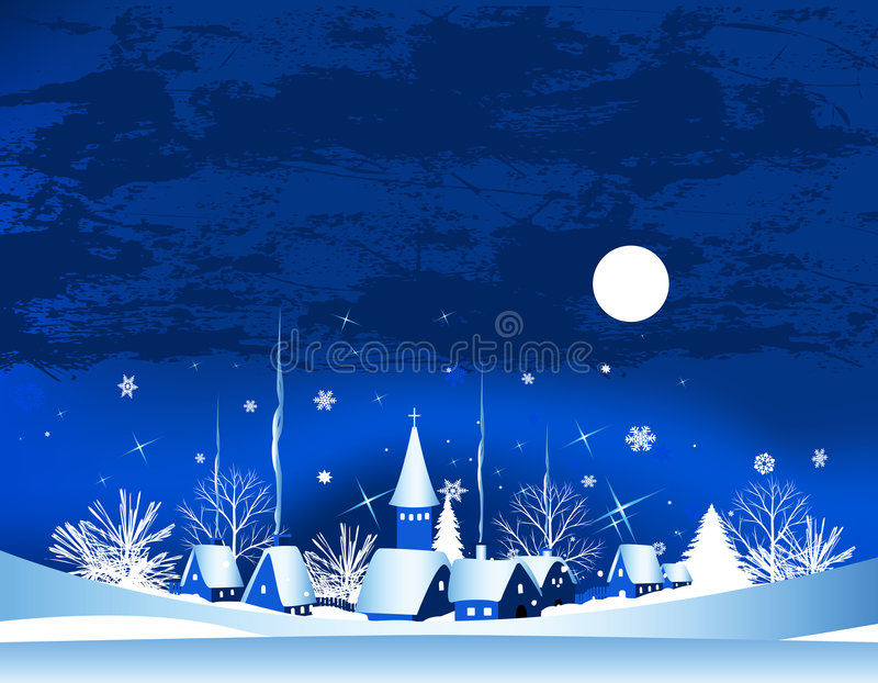 Christmas card. With town, snow and moon, vector illustration