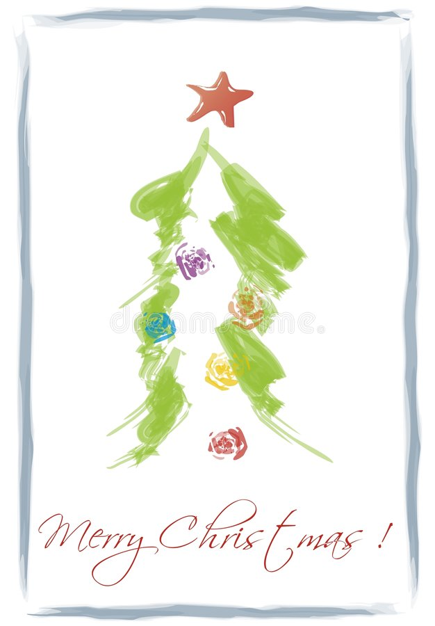 Download Christmas card stock illustration. Image of draw, tree - 6969804