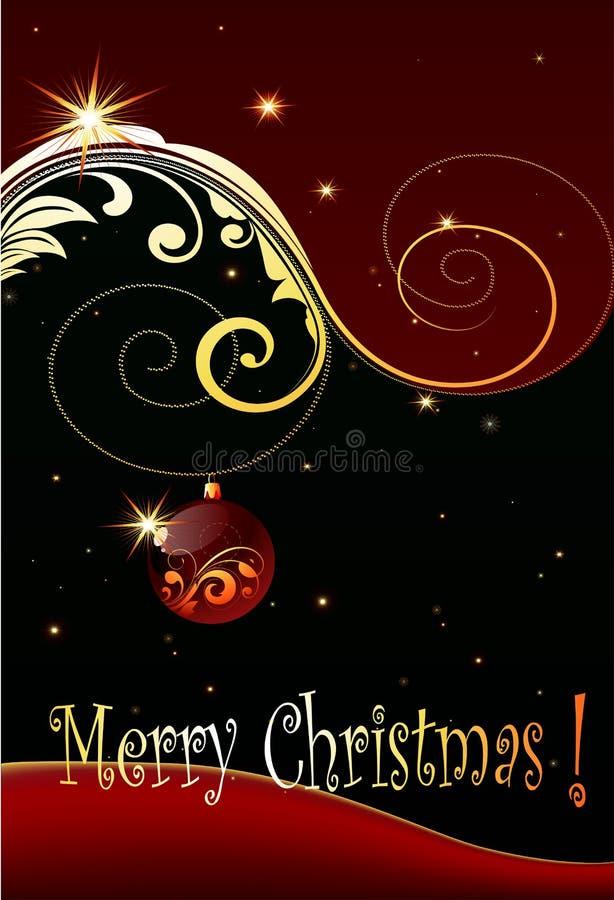Christmas card. Design with shiny golden decorative elements stock illustration