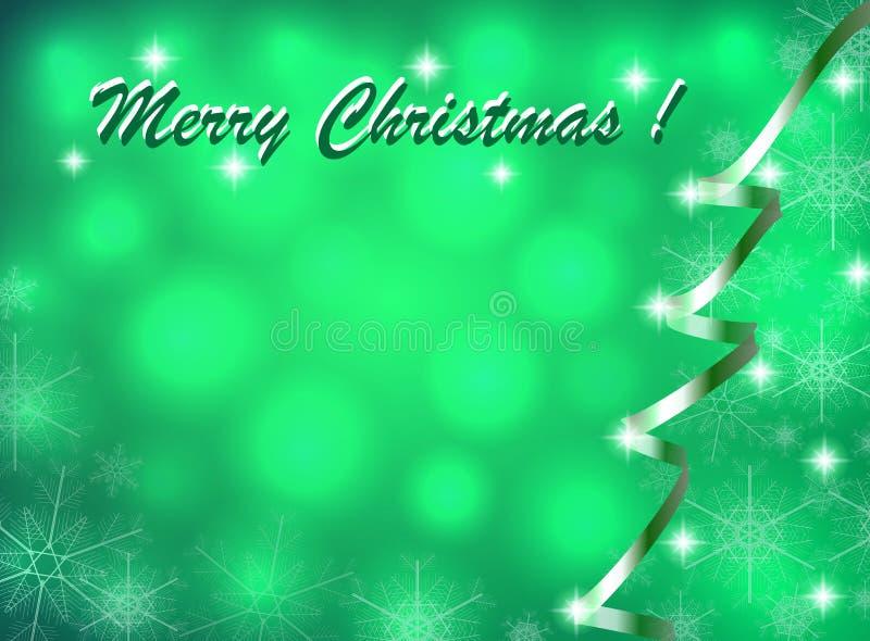 Christmas card with abstract Christmas tree and snowflakes stock image