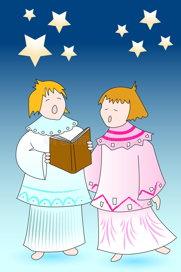 Christmas Card Angels Chourus Royalty Free Stock Images