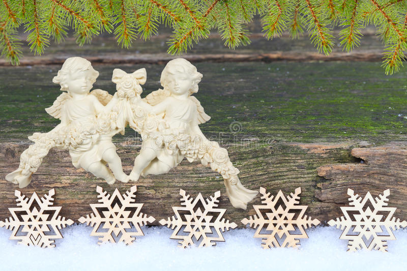 Christmas card with angels royalty free stock image