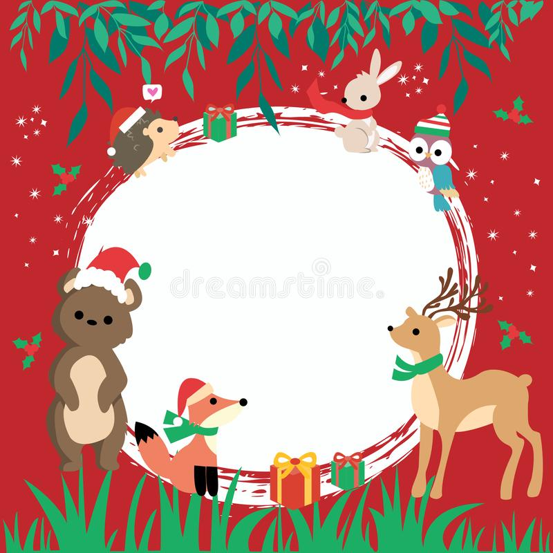 Happy New Year card with cute cartoon animals - symbol of the year with gifts. Vector red background. Christmas card with animals, hand drawn style. Woodland stock image
