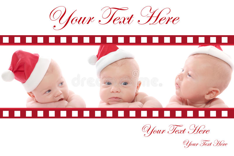 Christmas Card: Babies in Santa Hat royalty free stock photo