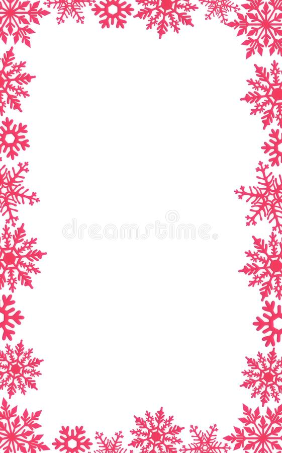 Christmas card background decoration border red snowflakes glitter New year stock images