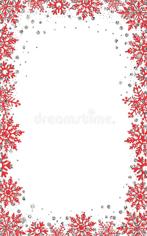 Christmas card background decoration border snowflakes glitter New year royalty free stock image