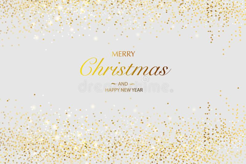 Christmas card. Background with glitter golden frame and space for text. Vector glitter decoration, golden dust. Merry Christmas and Happy New Year royalty free illustration