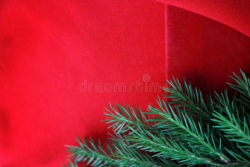 Christmas card background. New year holiday. Christmas still life. The view from the top. Free space for text. Green pine branches. On a red background stock photo