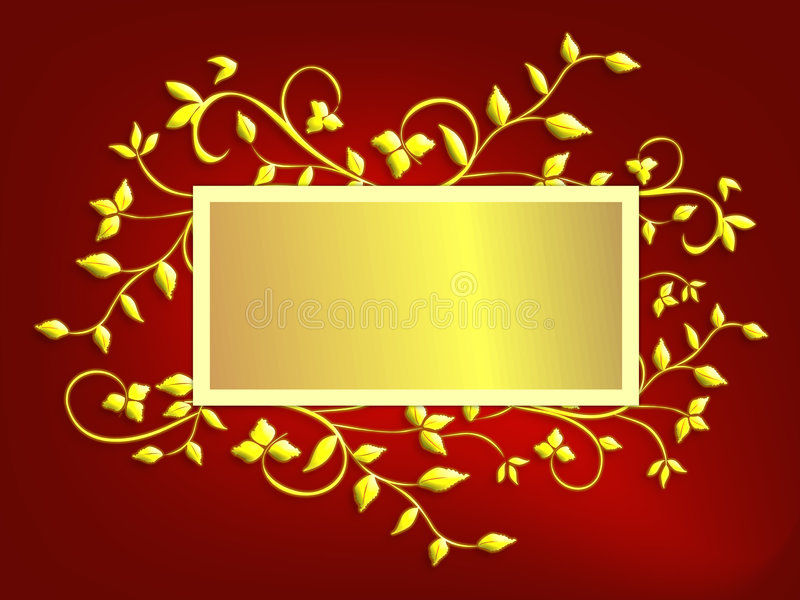 Christmas Card Background - Red and Gold vector illustration