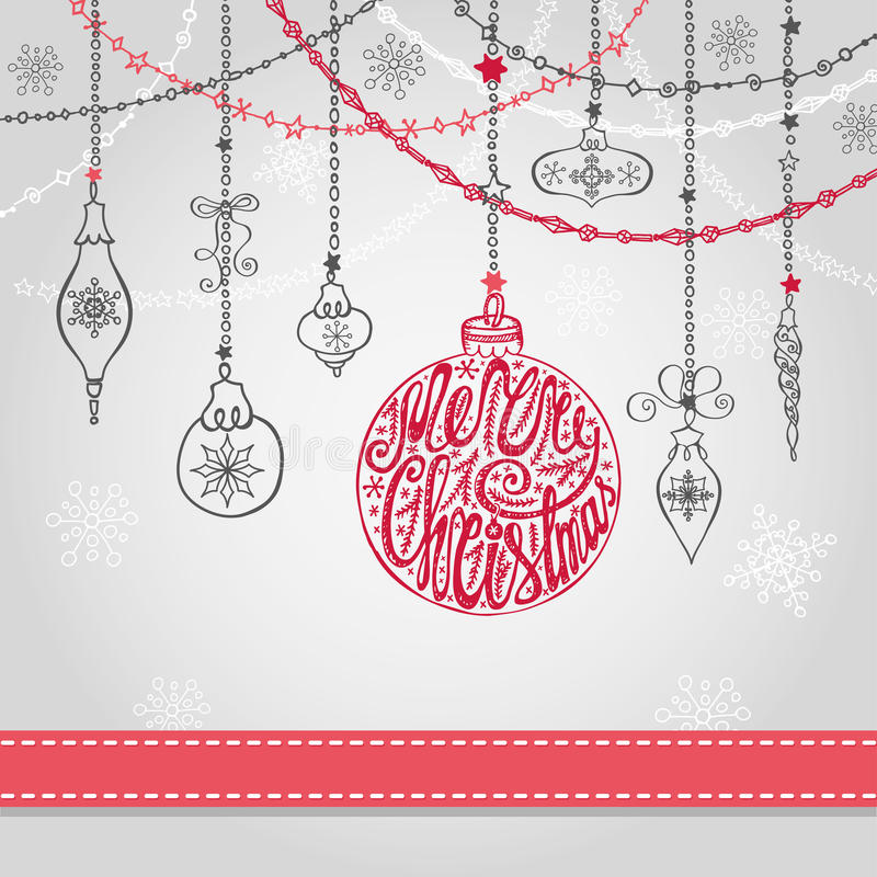 Christmas card with ball,garlands,lettering. Christmas greeting card with ball, garlands and ribbon.Holiday background.New year design template.Ball with vector illustration