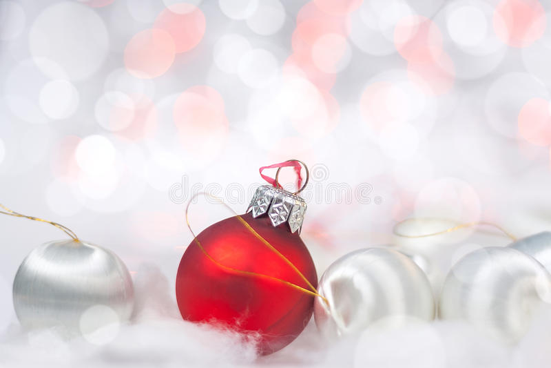 Christmas card with balls and bokeh royalty free stock image