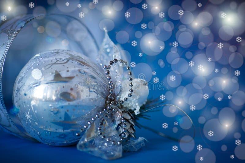 Christmas card with balls stock photography