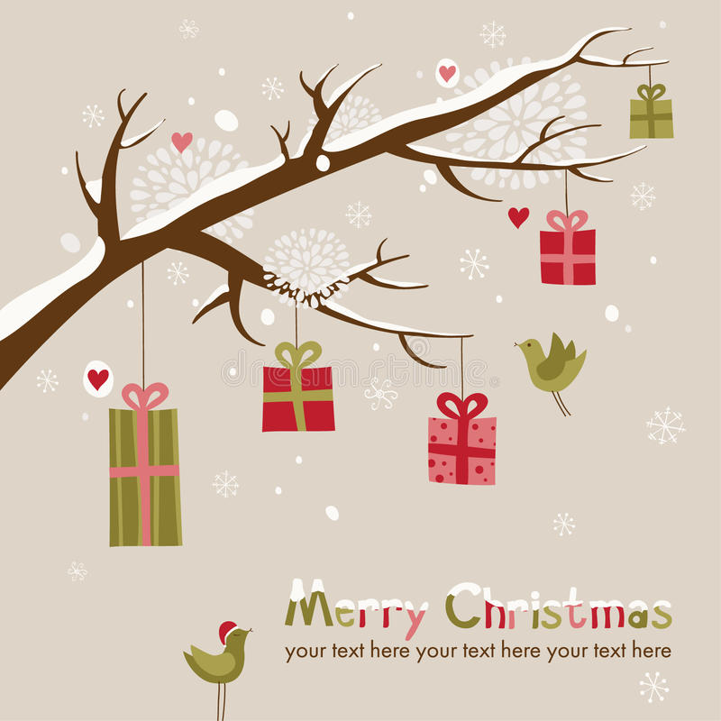 Christmas card with beautiful branch stock photography