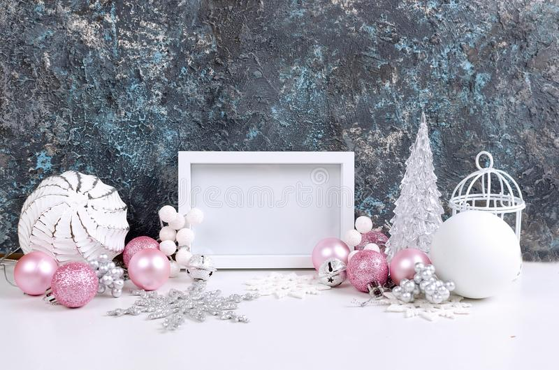 Christmas card with beautiful pink and white decorations royalty free stock photo