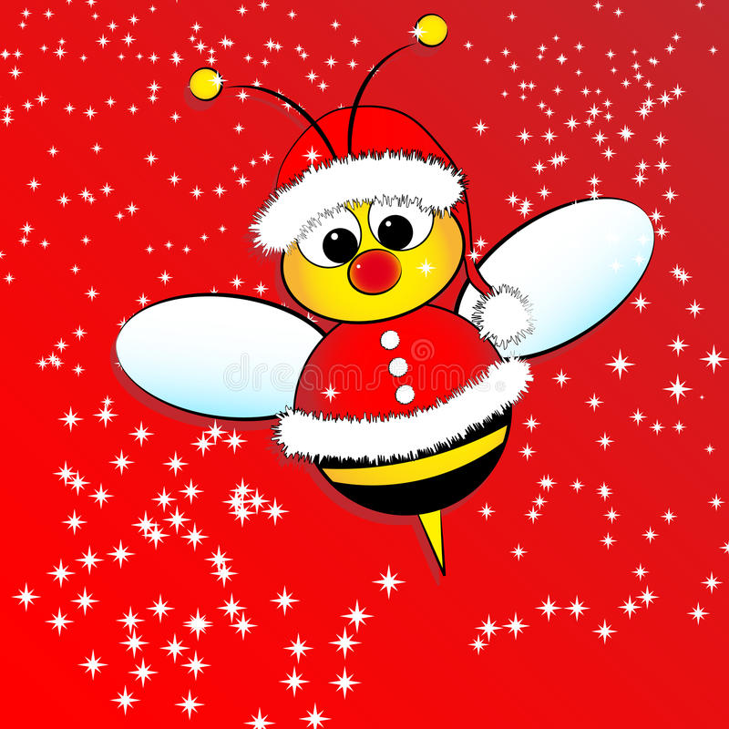Christmas card with a bee. Christmas card for kids with a Santa Claus Bee