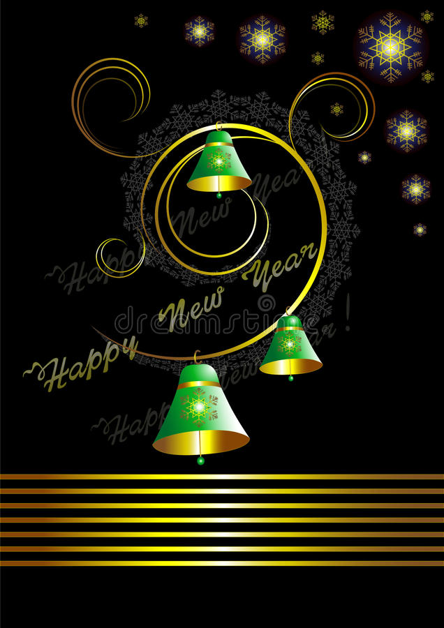 Download Christmas Card With Bells On Black Background Stock Vector - Image: 25472850