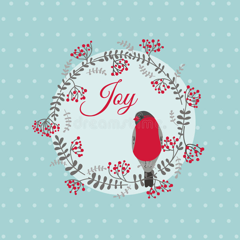 Christmas Card with Bird and Wreath stock illustration
