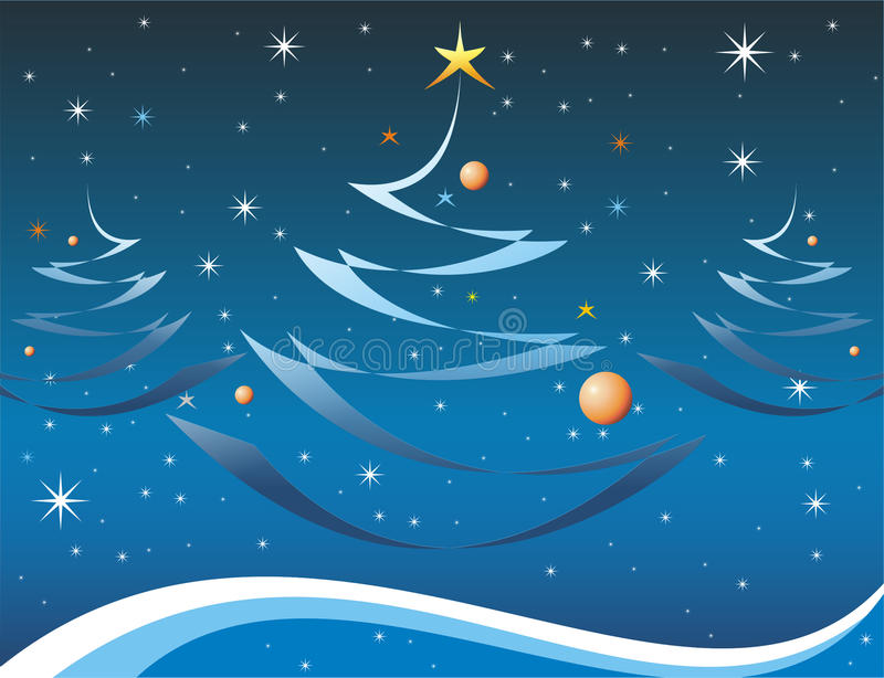Christmas card in blue color royalty free illustration