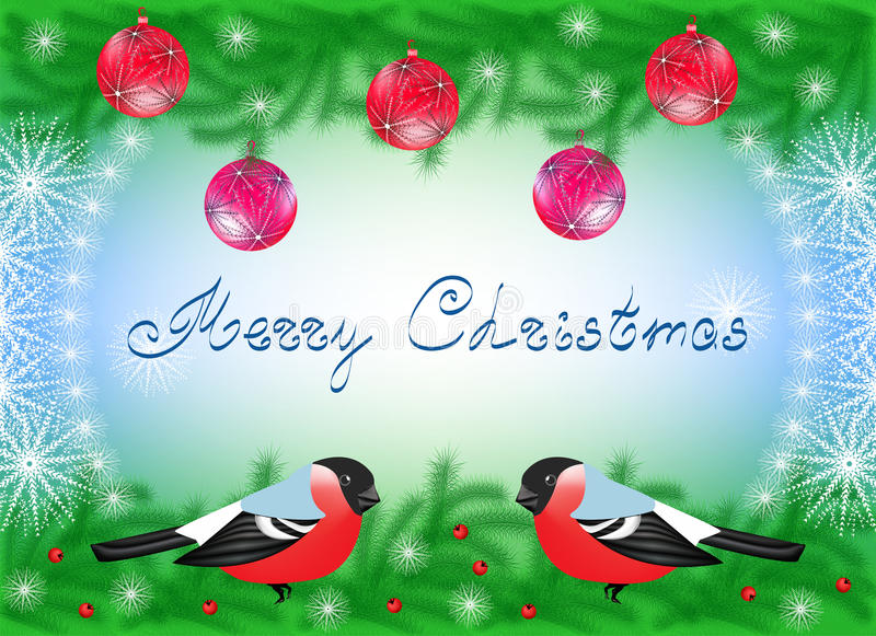 Download Christmas Card With Bullfinches Stock Image - Image of year, five: 33449035