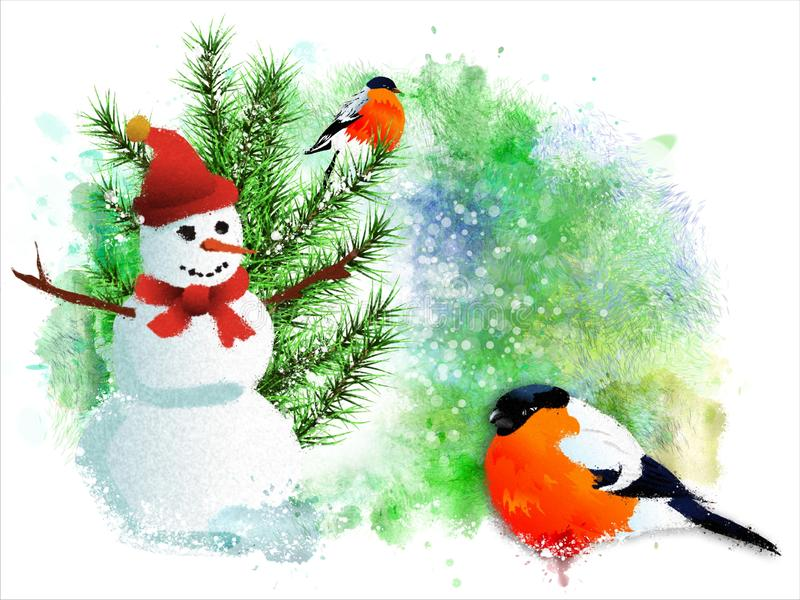 Christmas card with bullfinches and snowman. stock illustration