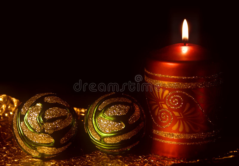 Christmas card with burning candles stock photo