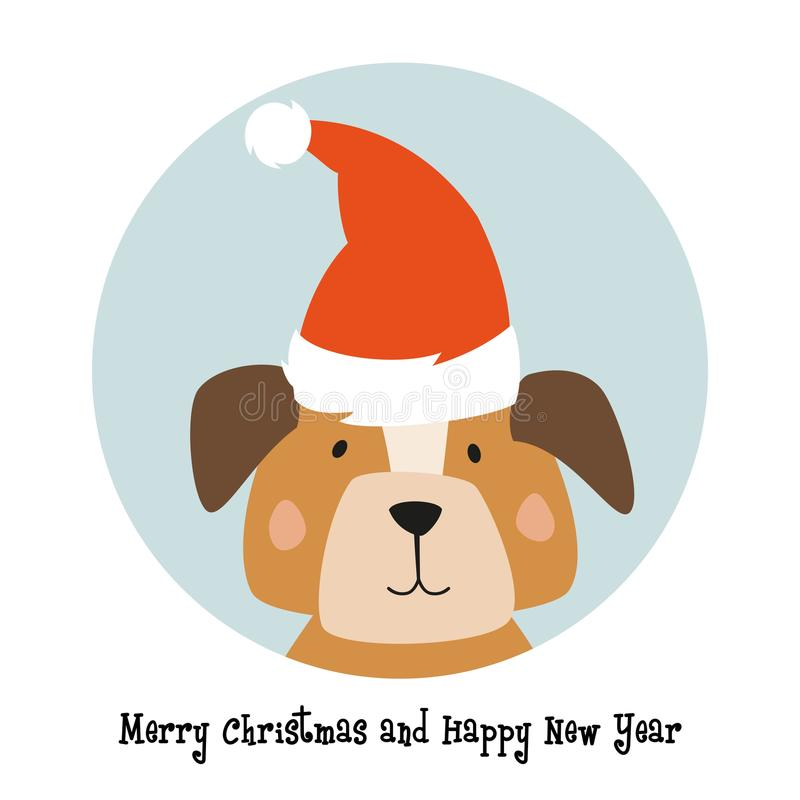 Christmas card with cartoon dog. stock illustration