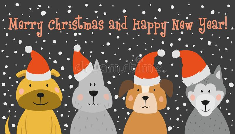 Christmas card with cartoon dog. royalty free illustration