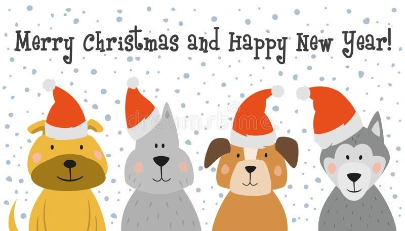 Christmas card with cartoon dogs. vector illustration