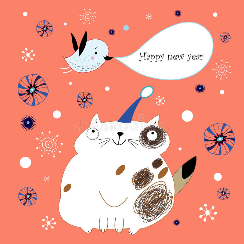 Christmas card with a cat and a bird stock image