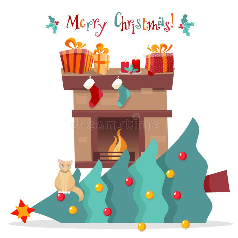 Christmas card - cat dropped Christmas tree and sits on it on white background. Greeting inscription decorated with mistletoe. vector illustration