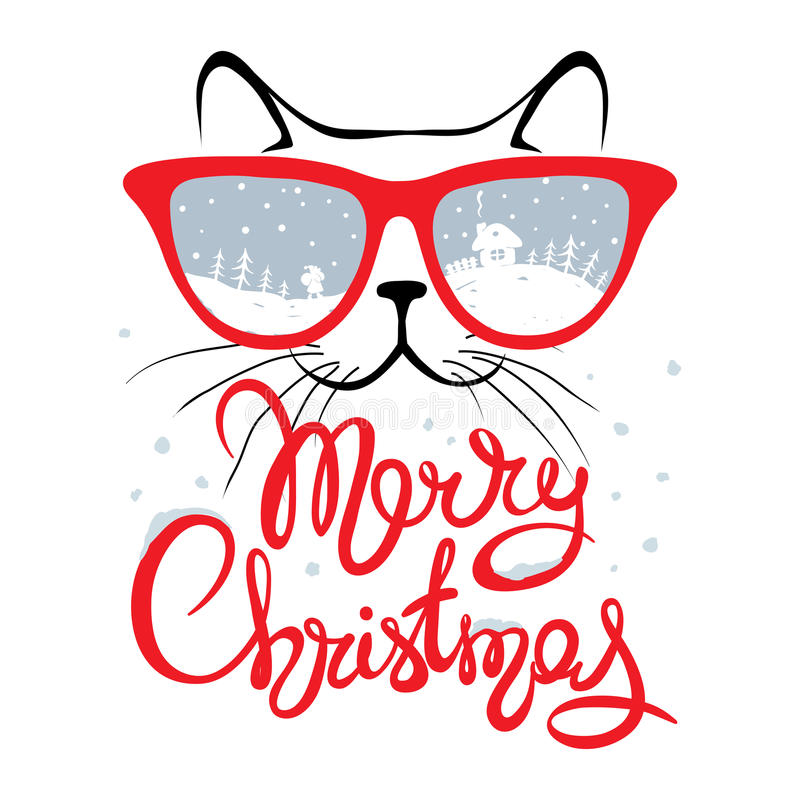 Christmas card, Cat in glasses royalty free illustration