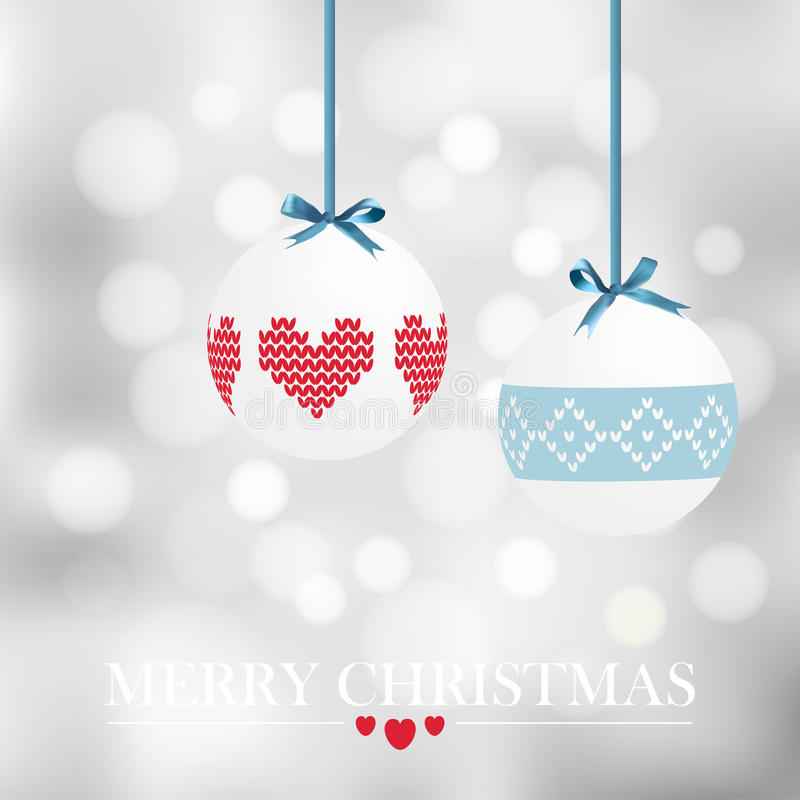 Christmas card with christmas balls and bokeh lights, royalty free stock photo