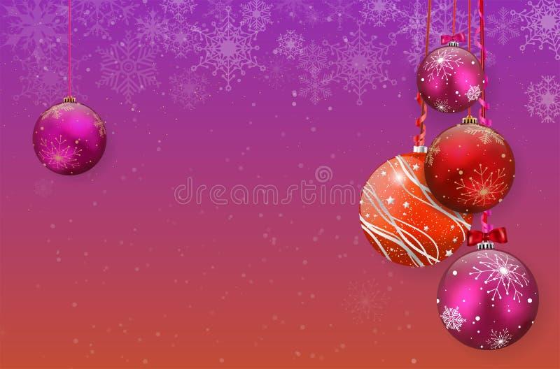 Christmas card with christmas balls and snowflakes stock photo