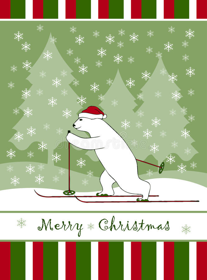 Christmas card with Christmas bear skier vector illustration
