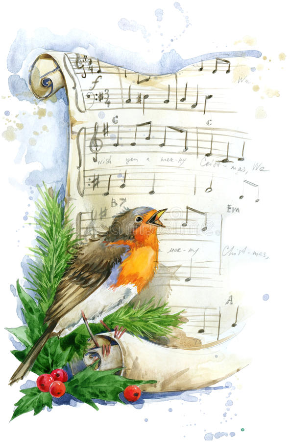 Christmas card. Christmas bird watercolor. vector illustration