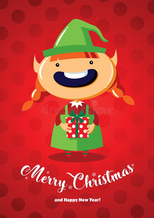 Christmas card with a cute Christmas elf. Christmas card with a Christmas elf on a red background with circles royalty free illustration
