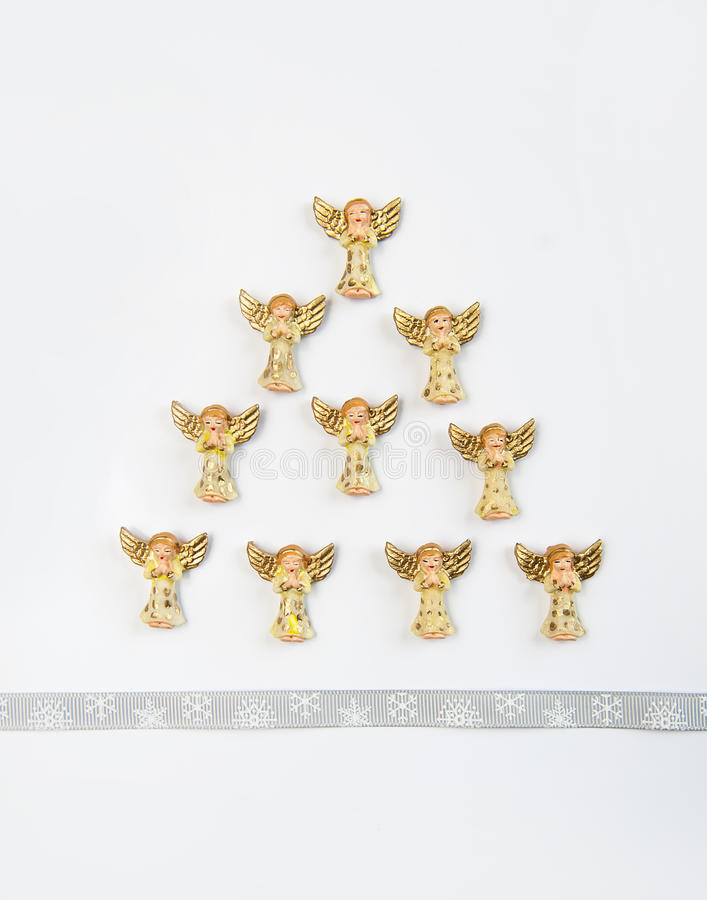 Christmas card, Christmas tree angels.  royalty free stock photos