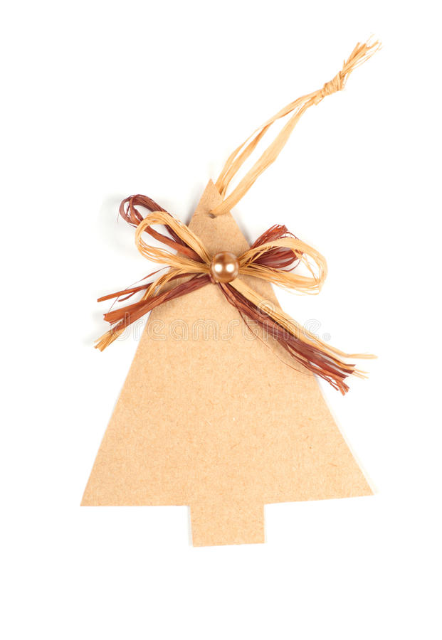 Christmas card with christmas tree label. On white stock images