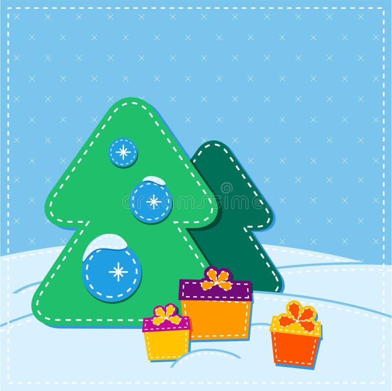 Christmas card. christmas tree and present. stock illustration
