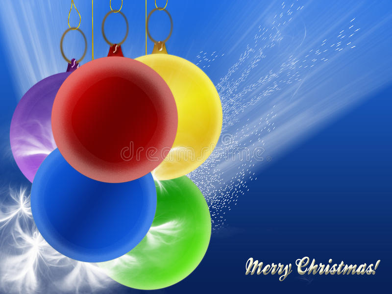 Christmas card with colored balls stock illustration