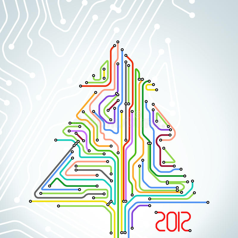 Download Christmas Card Of Colorful Metro Scheme Stock Vector - Image: 22161718