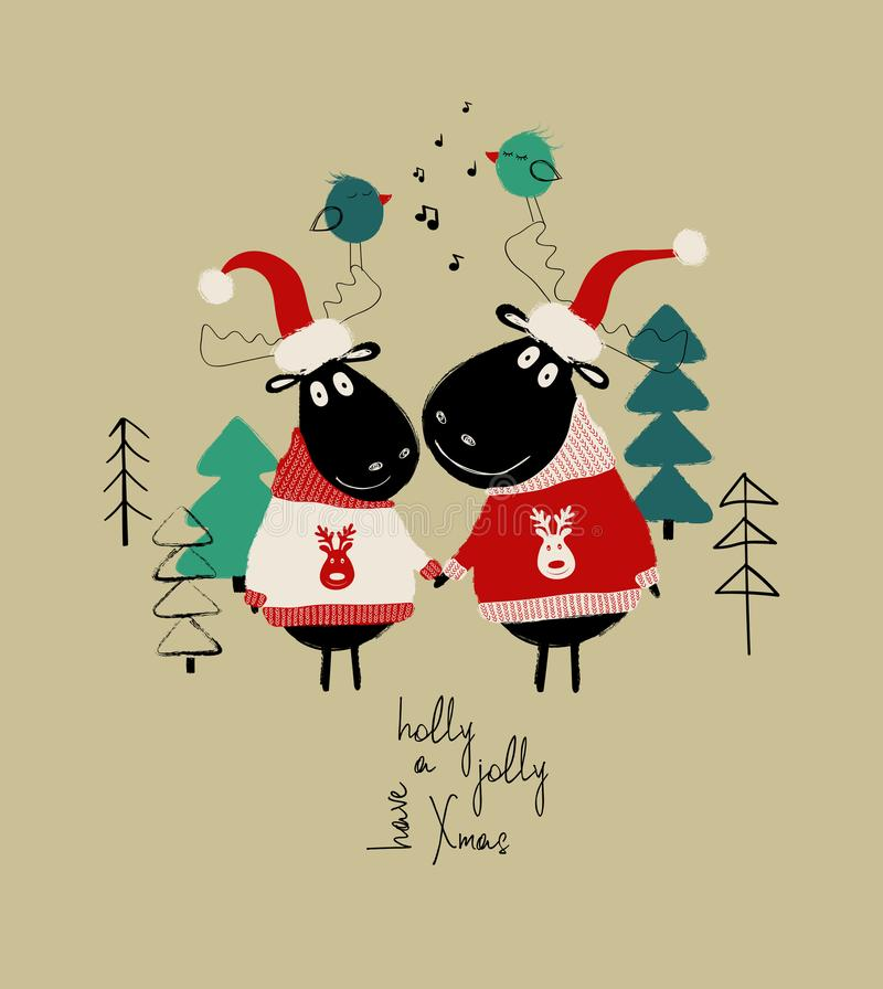 Christmas Card With Couple Of Funny Moose. vector illustration