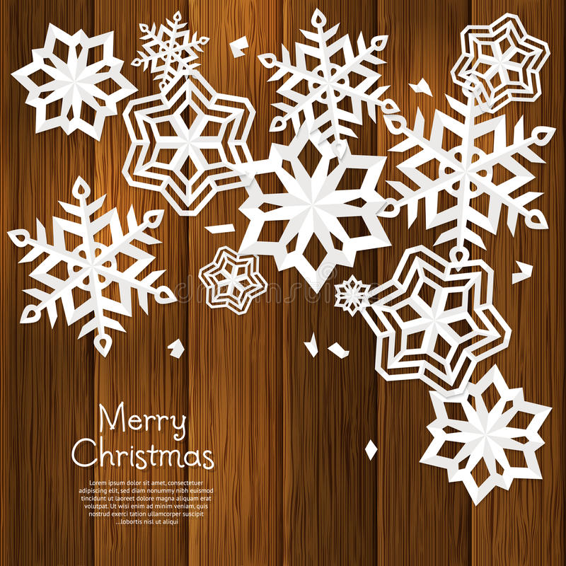 Christmas card with cut out paper snowflakes and wishing text on brown wooden background, wall. Vector. Christmas card with cut out paper snowflakes and wishing stock illustration