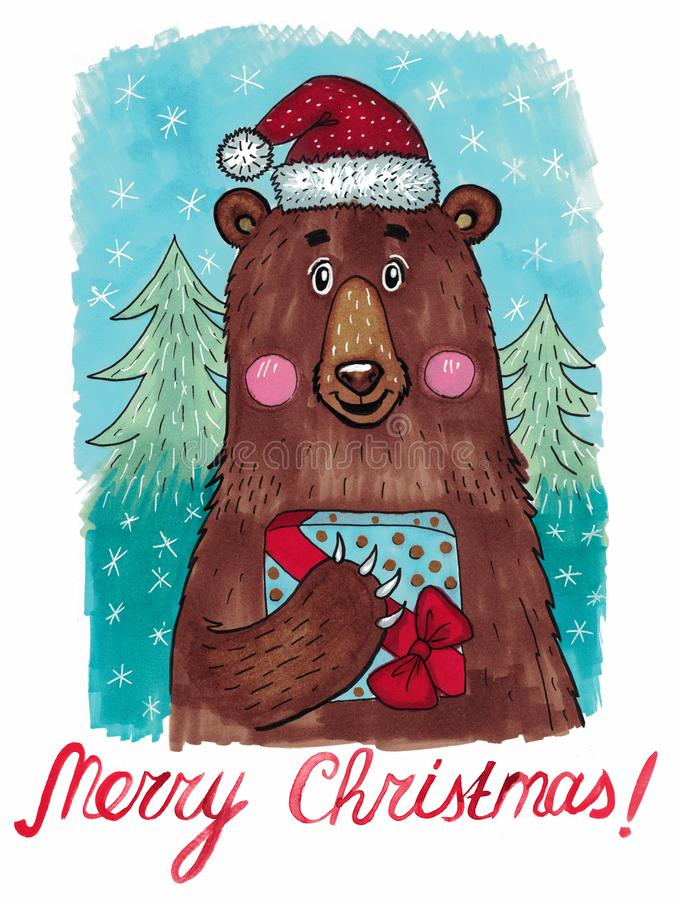 Christmas Card with Cute Bear stock photo