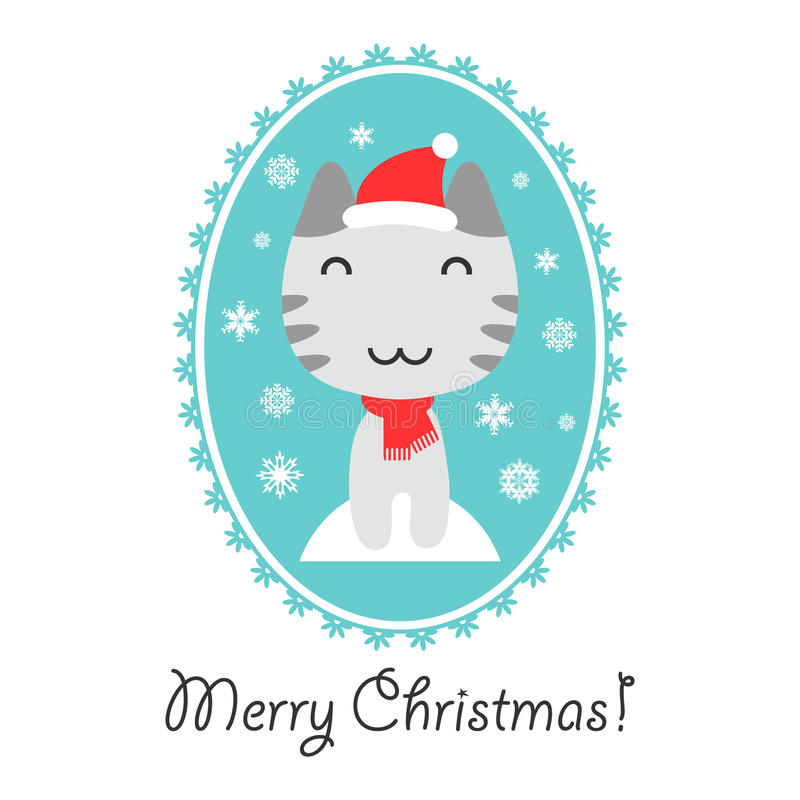 Download Christmas Card With Cute Kitty Stock Vector - Image: 27496487